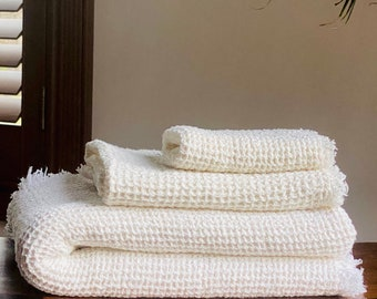 Waffle Linen Towel Set Made in USA
