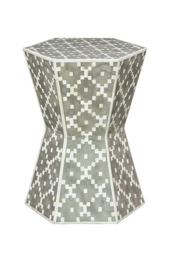 Magnificent Bone Inlay Diamond Design Drum Table In Grey Color With Free Shipping Short Links Chair Design For Home Short Linksinfo