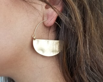 Hammered Earrings,Gold Plated Earrings,Semicircle Earrings,Quartz Earrings,Mom/'s Gift,Trendy Earrings Half Moon Earrings