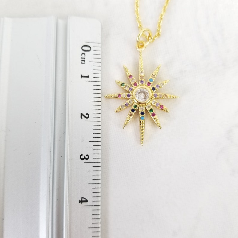 Gold Star Pendant Gold North Star Necklace Women Necklace CZ Sun Necklace