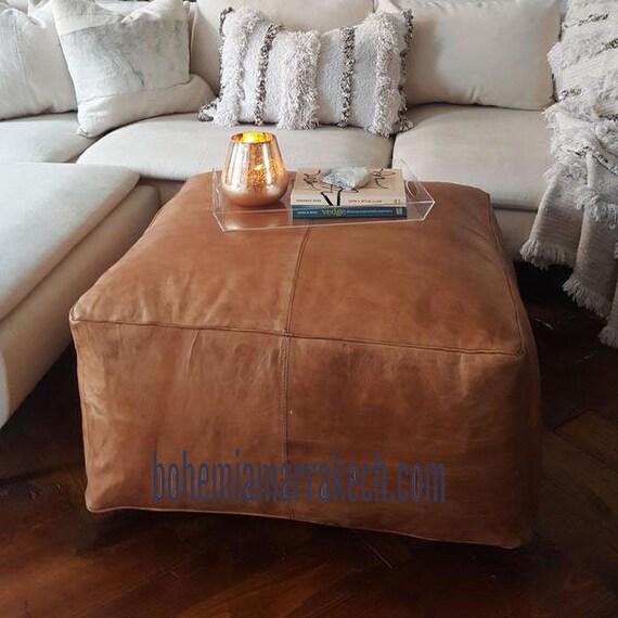Amazing Ottoman Leather Pouf Ottoman Moroccan Leather Ottoman Square Pouf Light Tan Handmade Footstool Pouf Ottoman Square Pouf Leather Original Inzonedesignstudio Interior Chair Design Inzonedesignstudiocom