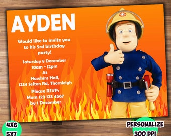 Fireman Sam Invite Etsy