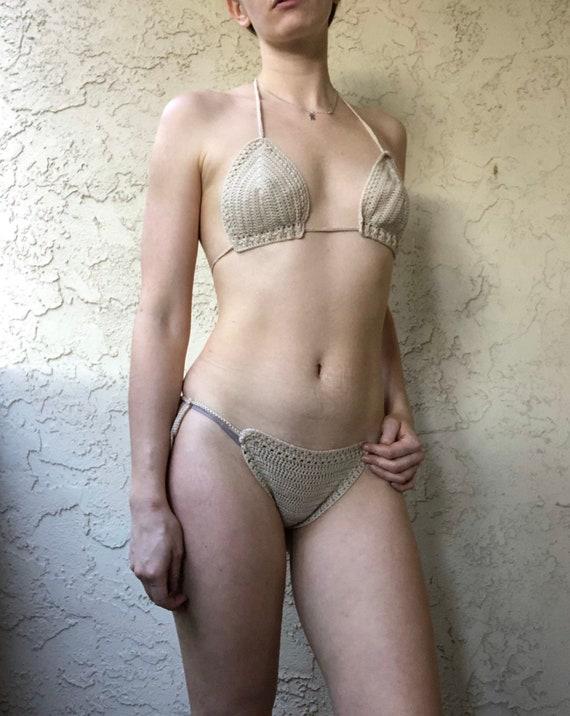 Neutral Crochet Cotton Cutie Bikini