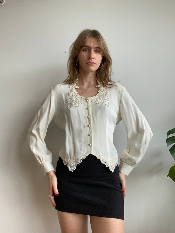 Puffed Sleeve Lace Ivory Blouse / M