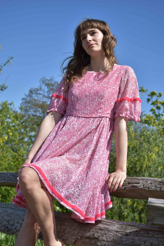 Pink Princess Lace Ribbon Twirl Dress