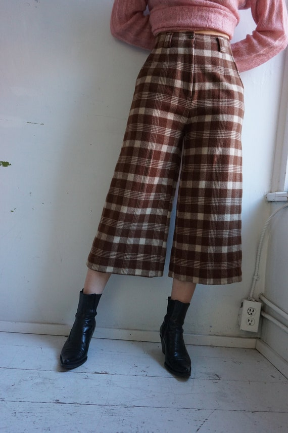 Wooly Plaid Highwaisted Culotte Trousers