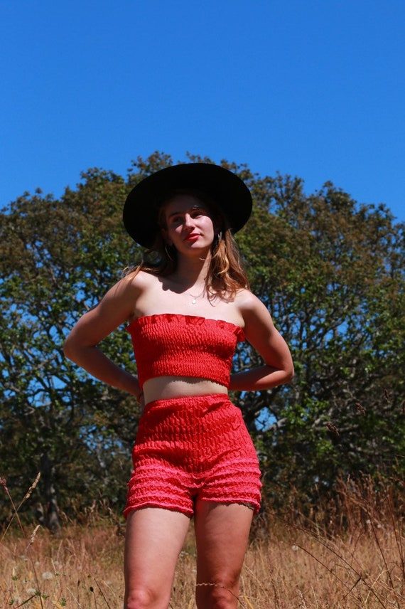 Vintage Red Lacy Bloomers - image 2
