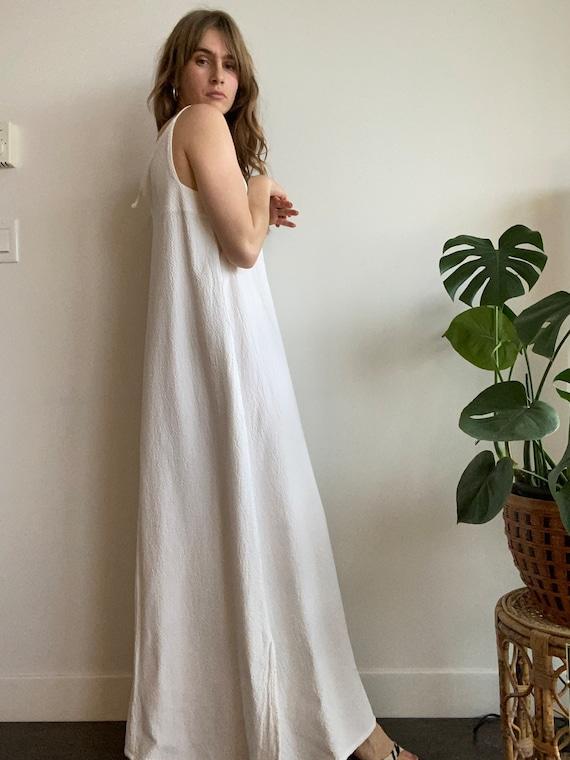 Textured Cotton Maxi Dress / L