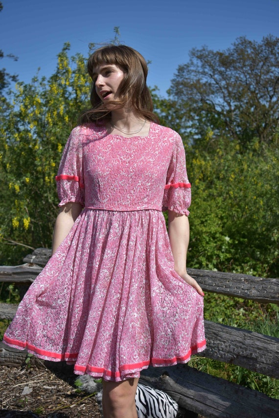 Pink Princess Lace Ribbon Twirl Dress - image 5