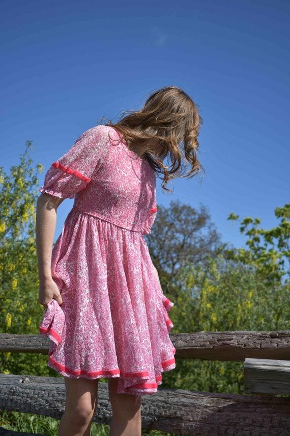 Pink Princess Lace Ribbon Twirl Dress - image 2