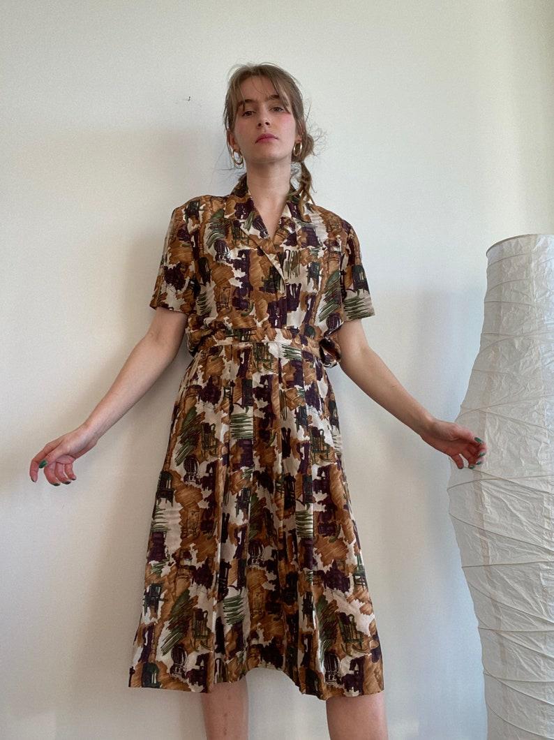 Rocking Chair Earth Tone Blouse and Skirt Pure Silk Set 28-30\u201dwaist