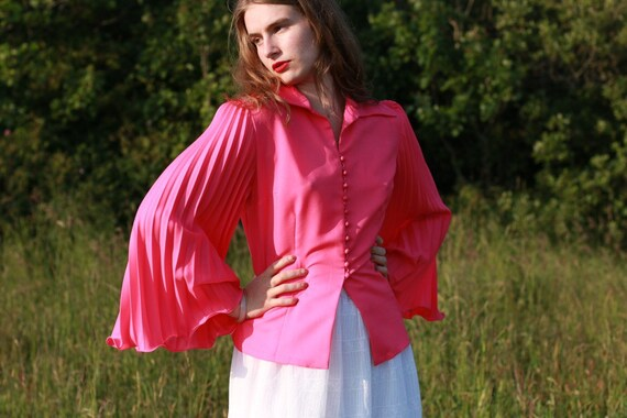Pleated Strawberry Pink Blouse