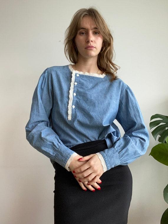 Vintage Ralph Lauren Puffed Sleeve Blouse / M