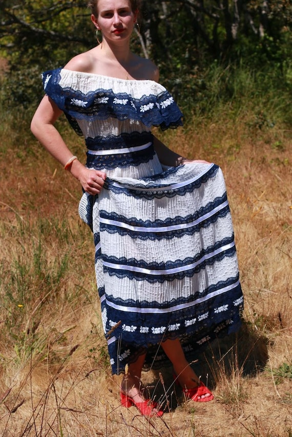 Indigo Ribbon and Cotton Dreamy Meadow Dress