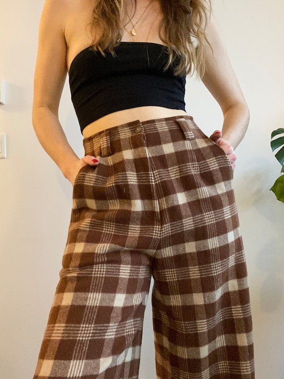 """Wooly Plaid Highwaisted Culotte Trousers / 28"""" Wai"""