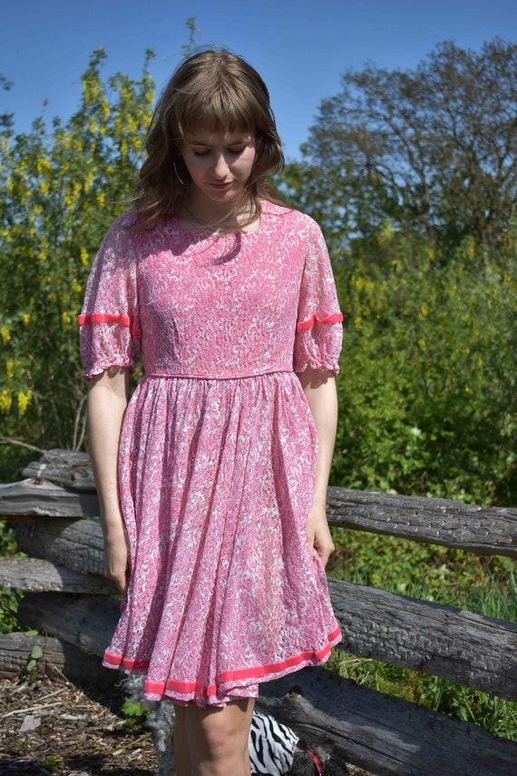 Pink Princess Lace Ribbon Twirl Dress - image 4