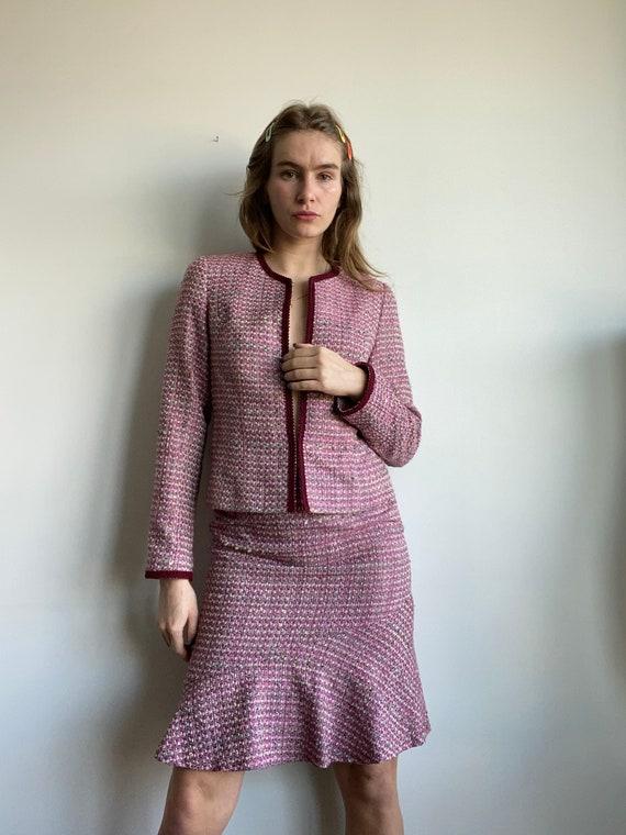 "Clueless/ Chanel-esque Tweed Skirt Suit / 28"" Wais"