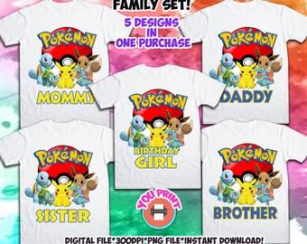 d94cd755 Pokemon Family Set Iron On Transfer. Pokemon Family Set Birthday Shirt  Design. Pokemon Printable Iron On Transfer.
