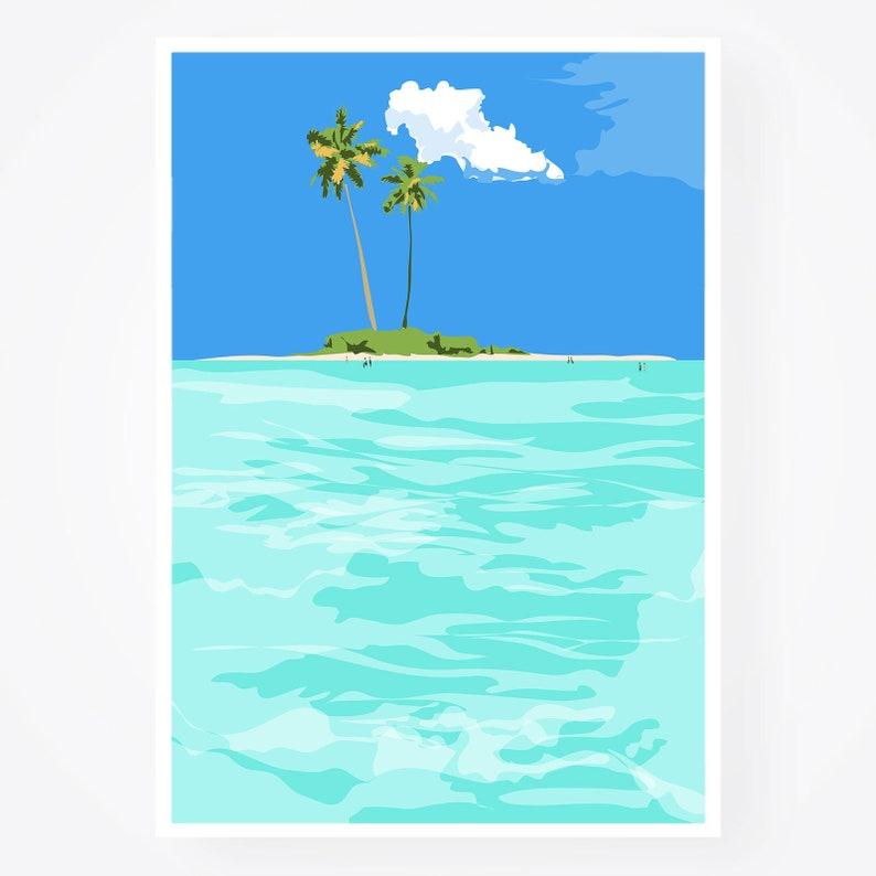 Tropical Beach woman cloud ocean boat landscape modern abstract art print Set of 3 posters