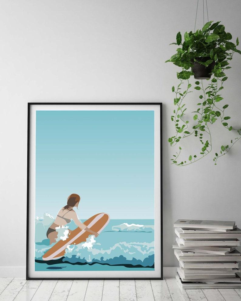 Surf Big Wave blue Hawaii Surfers Ocean Beach Abstract Modern Wall Art Decor set prints
