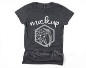 Anvil 880 Heather Dark Grey Women 39 s Shirt Mock Up, Anvil 880 Shirt Mock Up, Womens Anvil MockUp, TShirt Mockup, Womens Shirt Flat Lay
