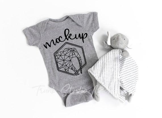 CHARCOAL Grey Baby Mock up Rabbit Skins 4400 Mockups Rabbit Skins Mockup Baby Mockup Baby Mock-up Stock Photo Baby Bodysuit Mockup