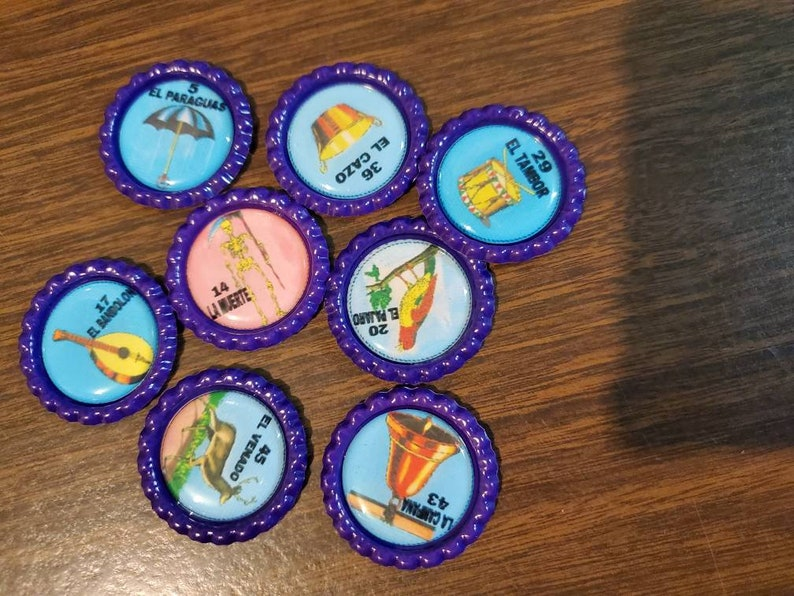 54 don Clemente Loteria Bingo Deck or Chips Purple with epoxy sticker