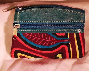 Aqua Leather Zip Coin Purse with South American Indigenous Pattern  (3-pocket) (Free Shipping!) 5bf958e7479d