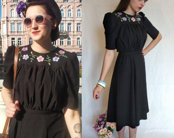 1b8fedd794e55 made to order 1940s vintage dress reproduction with hand embroidery
