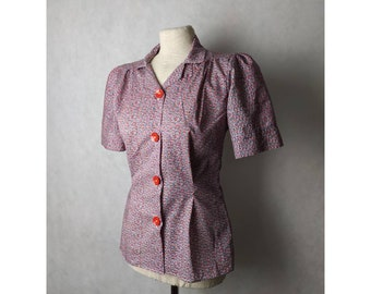 1940s blouse reproduction viscose 40s rayon shirt