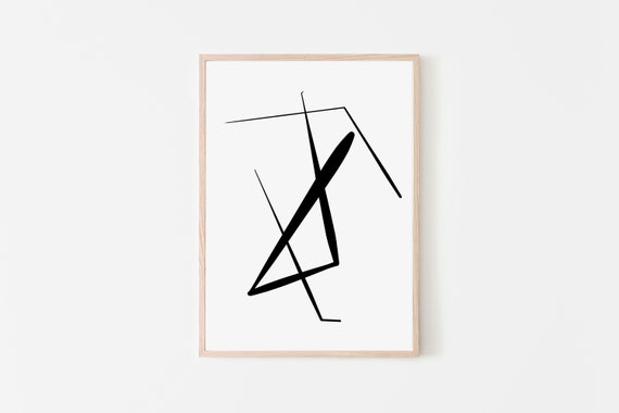 Abstract Print Printable Wall Art Minimalist Print Black White Abstract Digital Prints Modern Art Scribble Poster Mid Century Decor