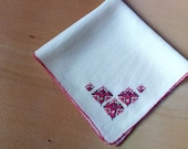 Vintage embroidered handkerchief, Bulgarian embroidery, Folk art, Hand made silk handkerchief, 1970s