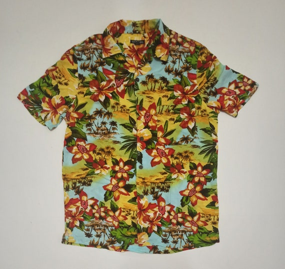 George Floral Flower Scenic Border Print Rayon Haw