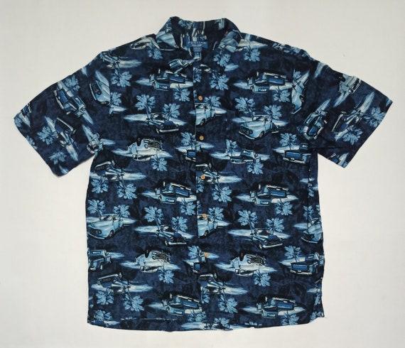Puritan Chevy Print Rayon Hawaiian Aloha Shirt Lar