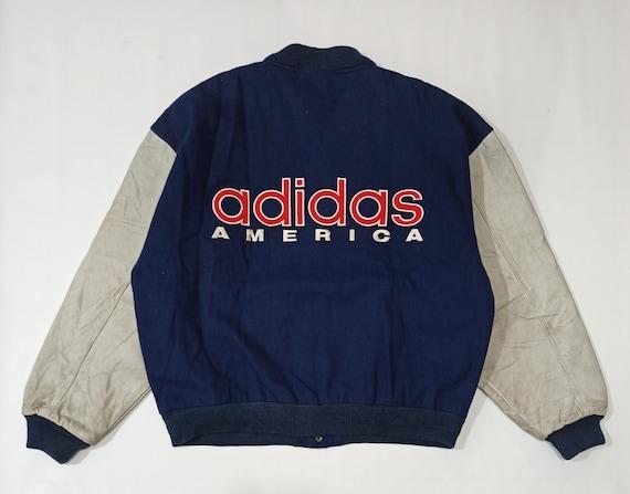 Vintage 80s Adidas America Letterman Jacket Leathe