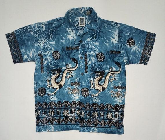 Vintage 90s Ocean Current Dragon Sukajan Motifs Pr