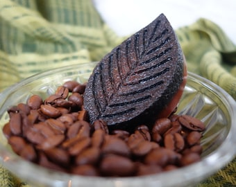 Amarena handmade red and black body scrub in leaf shape with coffee grounds and almond