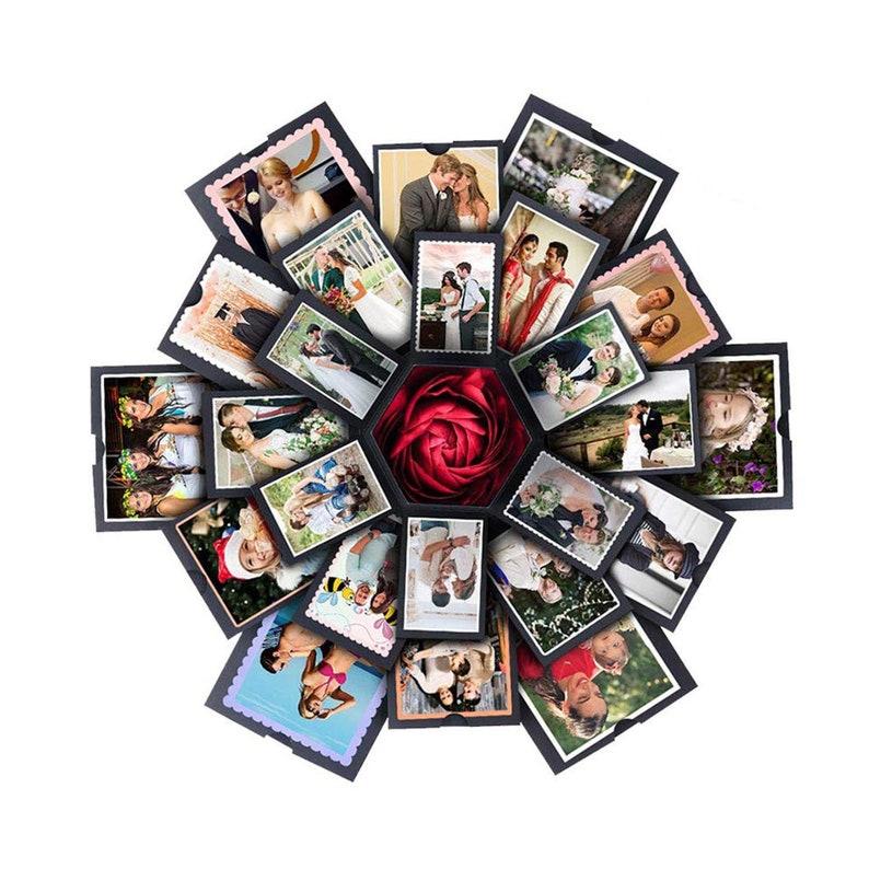 Memory Scrapbook Photo Album Gift Box 6 Faces Creative DIY Manual Explosion Box Anniversary Gift Birthday Gift Wedding Gift Valentine Gift