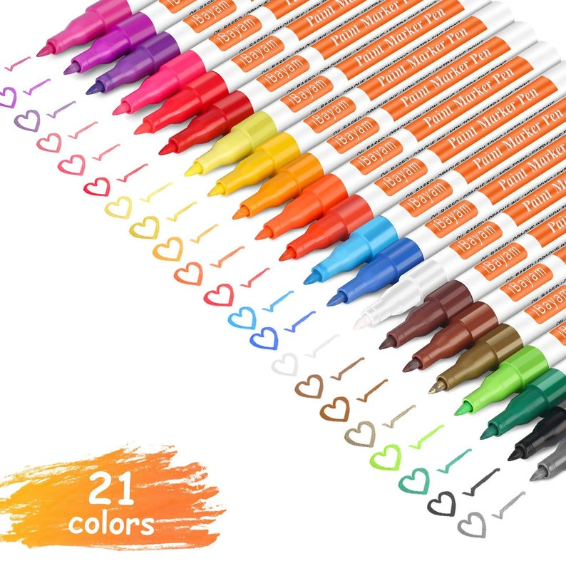 Ceramic Set of 21 Vibrant Fine Tip Paint Markers Metal and Glass Fast Drying Paint Pens for Rock Painting Wood Water Resistant