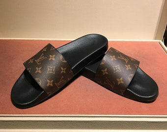 LV Customade Tan Slides 37ebbd0dfcf