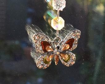 Enamel CRAB and beach theme crystal glass sun  light catcher SUNCATCHER HANDMADE