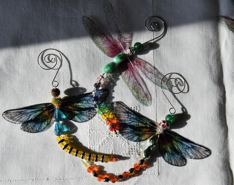 Glass crystal BEADED DRAGONFLY sun  light catcher suncatcher HANDMADE