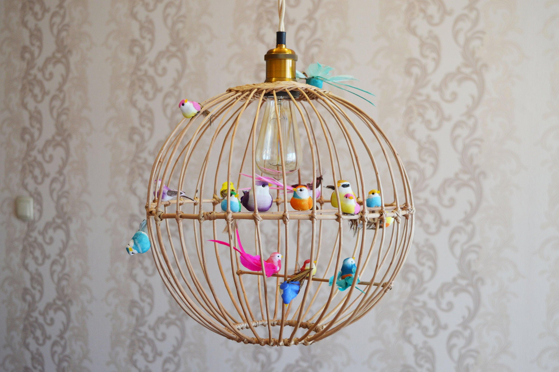Round birdcage chandelier natural willow pendant light wood chandelier bird lamp ceiling light birds kids lamp kids room decor