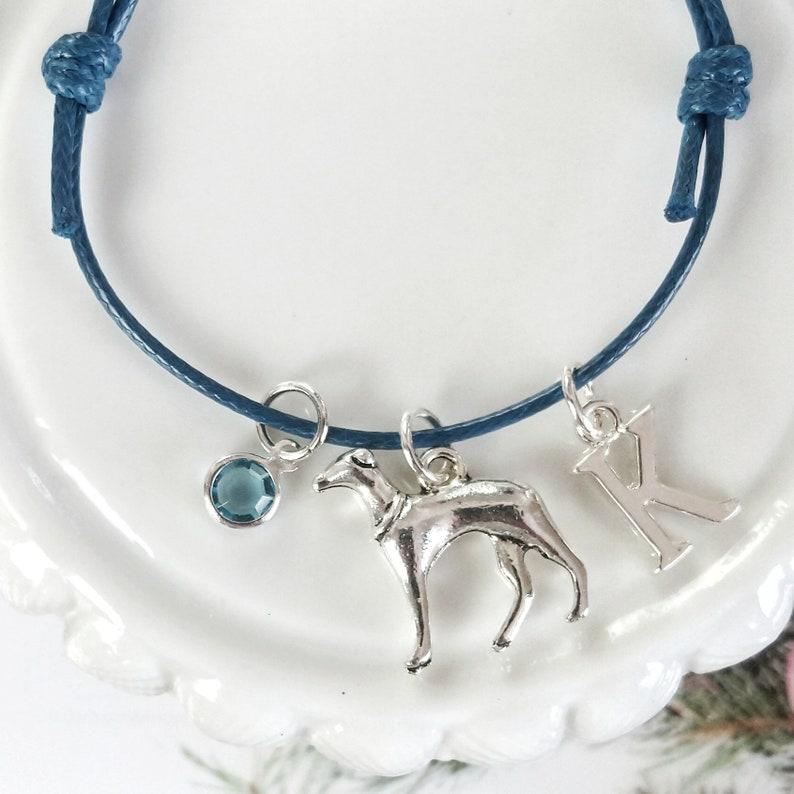 wax cotton adjustable personalised gifts dog owner Lurcher greyhound bracelet