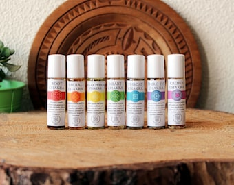 Chakra Oils Set - Infused with Crystals and Herbs, Essential Oil Roller Bottles 10ml, Chakra Balancing Set, Aromatherapy Kit, Essential Oils