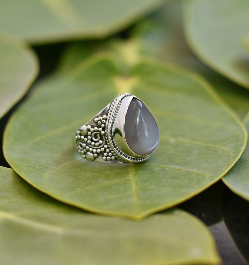 Engagement Ring Grey Moonstone Collection Of Rings Grey Moonstone Ring Grey Moonstone Solitaire Ring 925 Sterling Silver