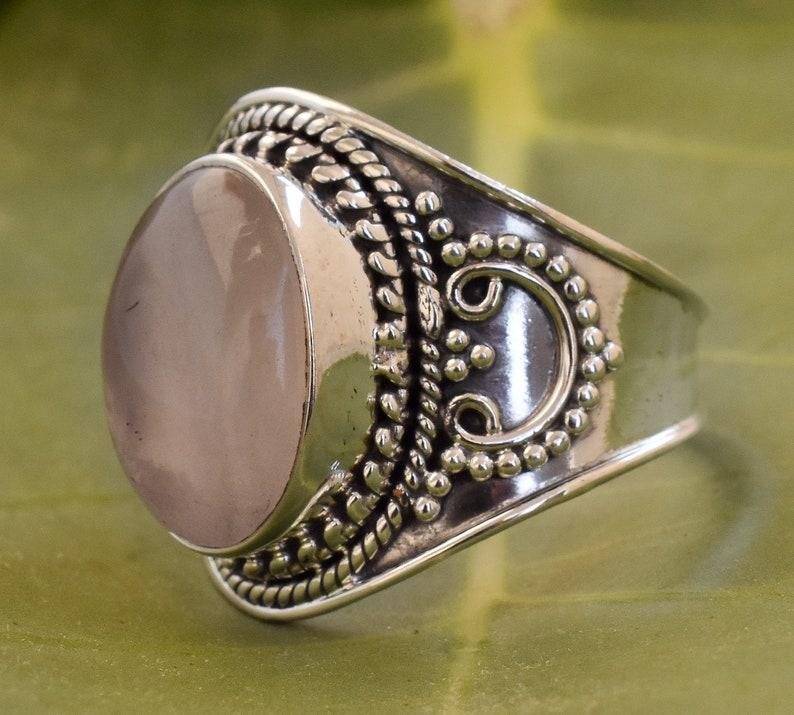 Men/'s ring birthstone ring Women/'s ring Rose quartz ring Sterling silver ring Gemstone ring Statement ring Mother/'s day gift