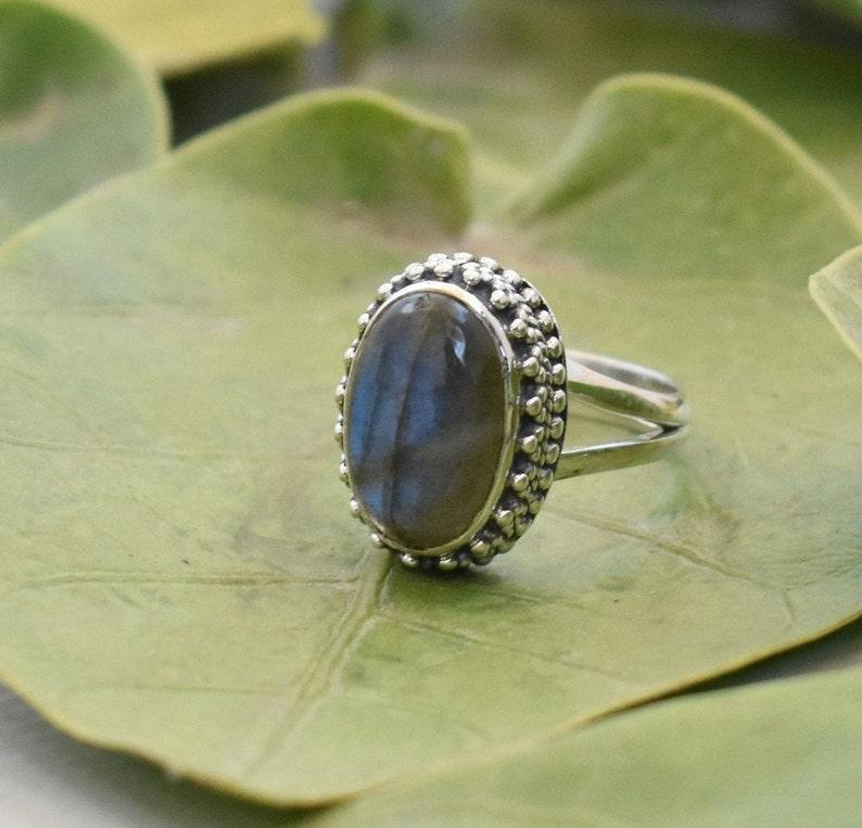 A Quality Labradorite Ring Sterling Silver Ring Blue Labradorite Gemstone Ring Crown Ring Solitaire Ring Ethnic Ring Southwestern Ring Gift