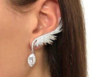 Ear climber earrings  Ear crawler earrings Ear cuff earrings Climbing earrings Bridal statement Climbing earrings Crystal ear cuff earrings