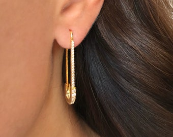 437d99531 Safety pin earrings Pave safety pin earrings Gold earrings Unique earrings  Unique jewelry Gift for her Gift for girlfriend Pair